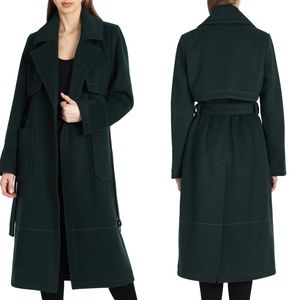 BADGLEY MISCHKA Wool Blend Tie Waist Trench Coat